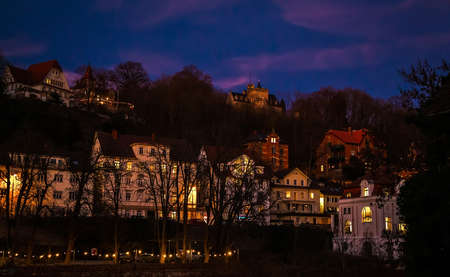 Konstanz,Germany, February 25, 2019 Konstanz city with the night light in the spring Фото со стока - 133912119