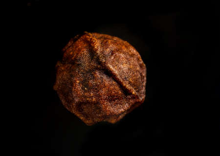 macro shot of a single pea of Cambodia red Campotian pepper isolated on a black background Фото со стока