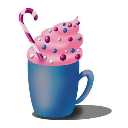sweet drink in blue mug with pink froth, caramel. New Year, Merry Christmas 스톡 콘텐츠