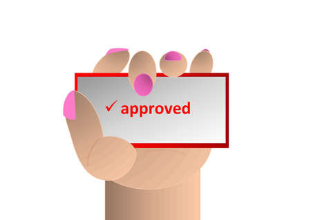 approved sign: hand with a sign approved Stock Photo