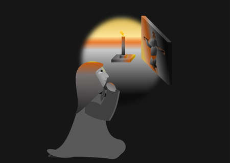 A woman is praying to God in a dark room in front of the icon. Illustration