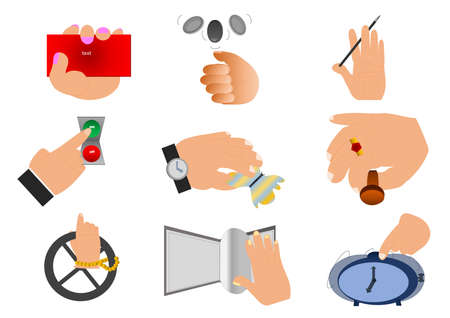 symbols commercial: 9 hands with different actions and symbols for being icons in business companies, commercial or simple life.
