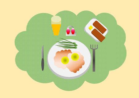 plato del buen comer: huevos fritos, tostadas, zumo, mantequilla y especias se sirven para el desayuno
