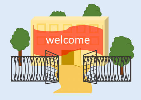open gate: a building with an open gate and the flag Welcome
