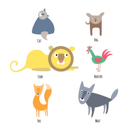 Set of cute animals on white background. Vector illustration  in flat style. Cat, dog, lion, rooster, fox and wolf