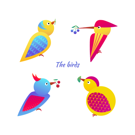 birdsong: Vector illustration of stylized birds on white background. Set birds icon. Illustration
