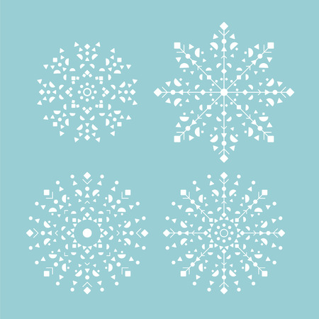 Set of  icons blue snowflakes or Mandala for christmas design decoration. Vector illustration.