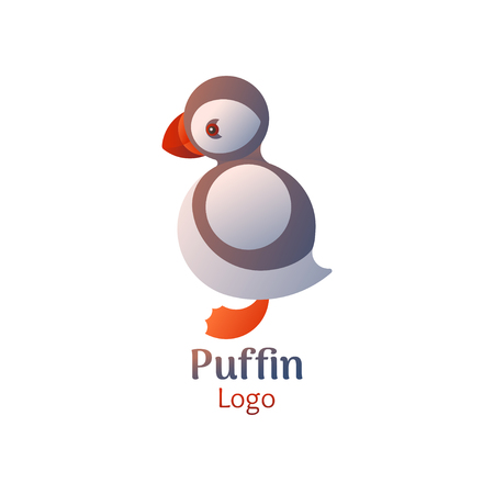 Puffin bird logo. Vector icon on white isolated background. Illustration