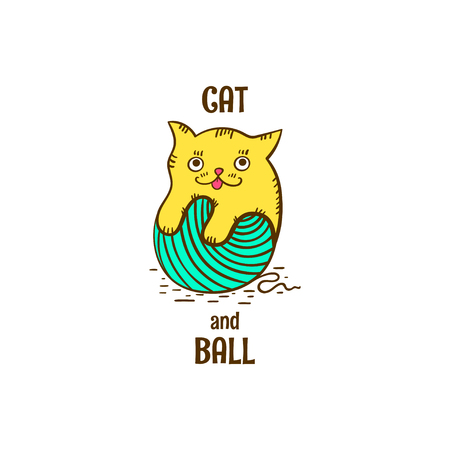 Cat and ball logo vector. Yellow kitten icon with ball of yarn on white background