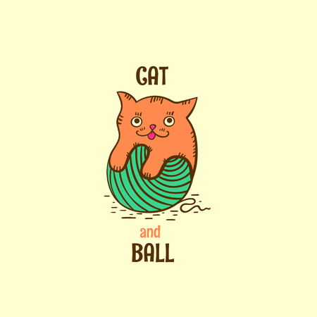 Cat and ball logo vector. Red cat icon  with ball of yarn on light background. Illustration