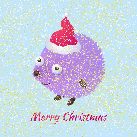 Cute cartoon hedgehog congratulates on Christmas. Greeting card Merry Christmas template.  Ideal for web, card, poster, cover, invitation, brochure. Vector illustration Illustration