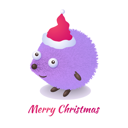 Cute cartoon hedgehog congratulates on Christmas. Greeting card Merry Christmas template.  Ideal for web, card, poster, cover, invitation, brochure. Vector illustration Illustration