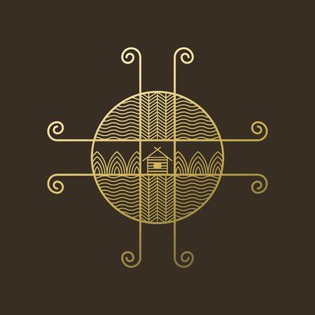 logo ethno on brown Stock Illustratie