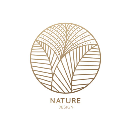 Vector logo of floral element. Abstract round flower with petals. Linear emblem for design of natural products, flower shop, cosmetics and ecology concepts, health, spa and yoga Center. Imagens