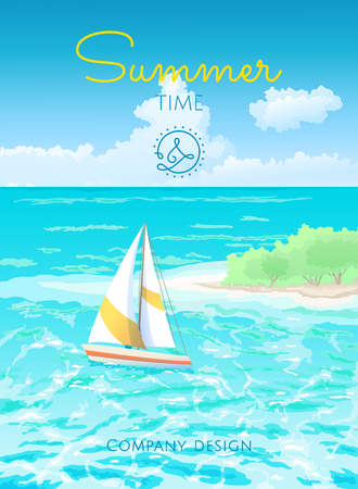 Vector illustration of tropical seascape with a floating yacht. Template summer time for the design of banners, posters, flyers.