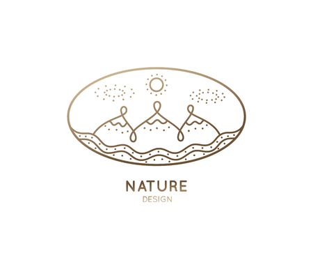 Vector oval logo of nature elements. Linear icon of landscape with mountains, river - business emblems, badge for a travel, tourism and ecology concepts, health and yoga Center.
