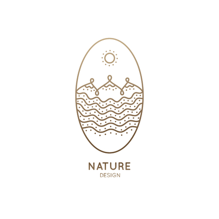 Vector oval logo of nature elements. Linear icon of landscape with mountains, river, sun - business emblems, badge for a travel, tourism and ecology concepts, health and yoga Center.