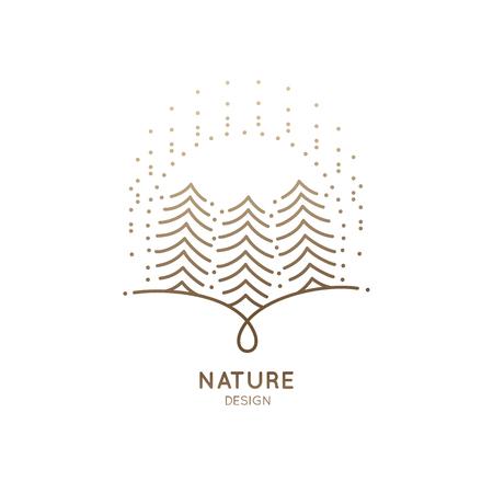 Icon sun fir-trees illustration on white background.