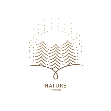 Icon sun fir-trees illustration on white background.