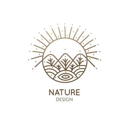 Nature linear logo forest landscape Logo