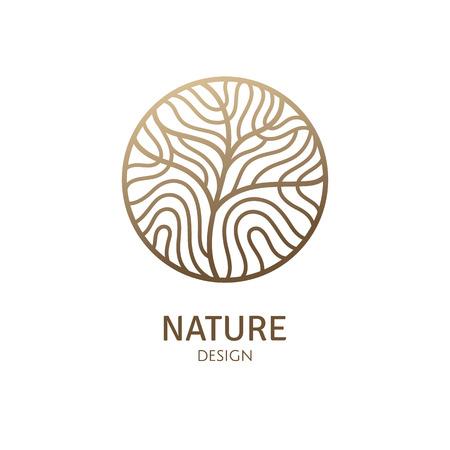 Logo rotondo del modello dell'albero Logo
