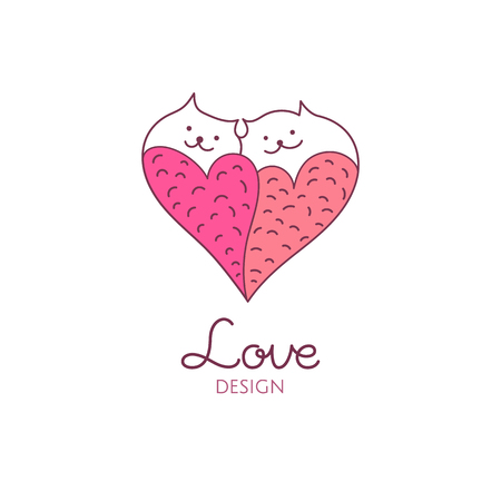 Two cats in love Illusztráció