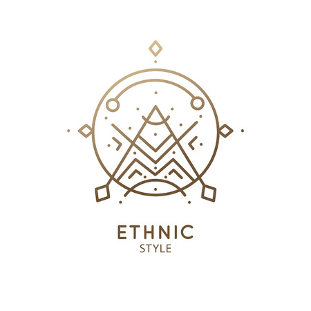 Abstract nature logo. Vector geometric badge. Sacred alchemic symbol. Outline icon of abstract shapes, piramyd - business emblem for design card, alchemy, zen, ecology, religion concepts, yoga Center. Ilustração