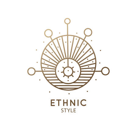 Sacred geometric shape logo. Vector symbol of sun, planets and moon in linear ethnic style. Alchemy abstract sign - balance balls, pendulum for design cards - astrology, holistic, zen, health, yoga