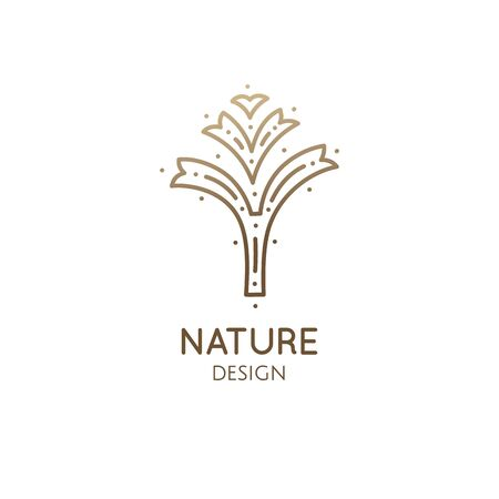 Abstract element of tree logo template. Decorotive plant. Simple badge for design of eco products, flower shop, cosmetics and ecology concepts, health, spa, yoga Center. Vector illustration