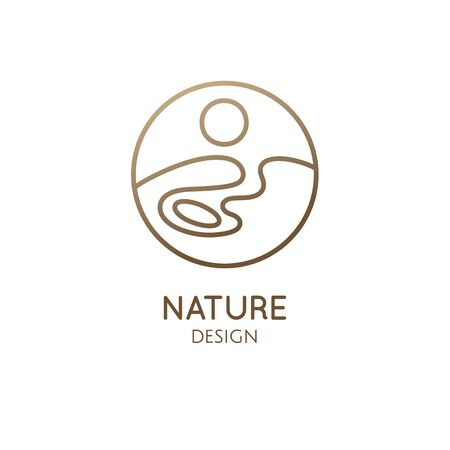 Nature logo template. Linear round icon of landscape with lake, sun, wavy line. Vector simple minimalistic emblem for business design, badge for travel, tourism, ecology concepts, health, yoga Center Stock Illustratie