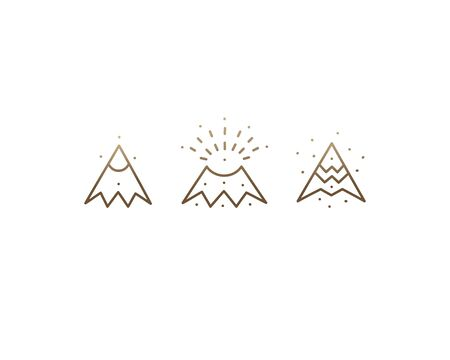 Set linear icons of volcano Illustration