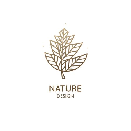 Abstract tropic plant minimal logo. Outline emblem