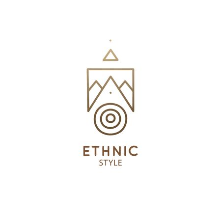 Abstract nature logo geometric elements. Square sacred symbol of mountains. Minimal outline icon of abstract landscape. Ilustração