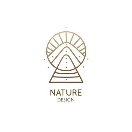 Abstract nature logo geometric elements. Square sacred symbol of mountains. Minimal outline icon of abstract landscape. Vectores
