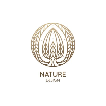 Succulent logo template. Vector emblem of blossoming cactus or tropical flower in linear style. Abstract icon for bussines design, packaging of natural, eco products, beauty, spa, yoga badge