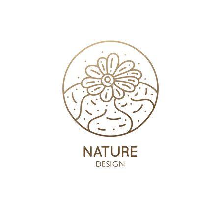 Cactus logo template. Vector emblem of blossoming succulent or subtropical plant of lophophora diffusa Ilustração