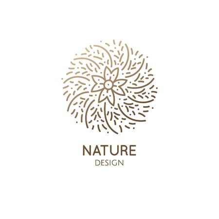 Cactus logo template. Vector emblem of blossoming succulent or subtropical plant in linear style. Garden plants of Africa. Abstract icon natural, eco products, beauty, spa, raw food, flower shop.