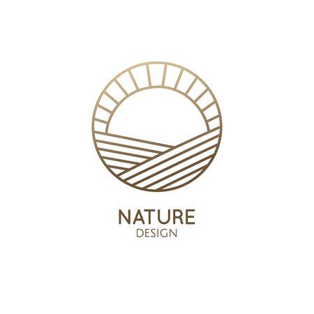 Emblème de logo minimal au coucher du soleil et au lever du soleil Logo