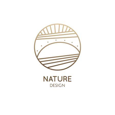 Sunset and sunrise minimal logo emblem
