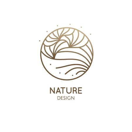 Abstract flower logo template. Round emblem plant in linear style. Vector minimal badge for design of natural products, flower shop, cosmetics.