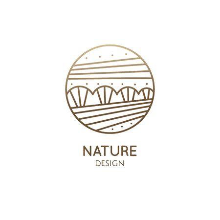 Vector logo of nature elements in linear style. Linear icon of landscape with trees, river, fields 일러스트