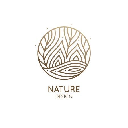 Vector logo of nature elements in linear style. Linear icon of landscape with trees, river, fields or lake. 일러스트