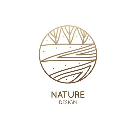Vector logo of nature elements in linear style. Linear icon of landscape with trees, river, fields or lake 일러스트