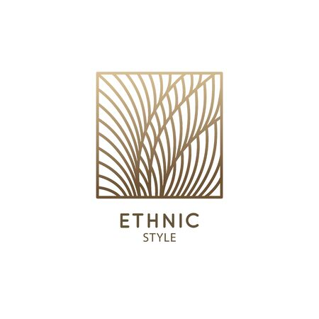 Tropical plant logo. Outline emblem of flower or feather in square, linear style. Vector abstract badge for design of natural product, flower shop, cosmetics, ecology concepts, health, spa, yoga Ilustração