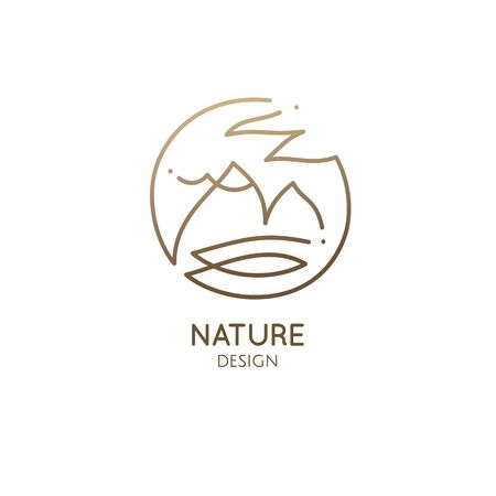 Vector abstract logo of nature. Linear round icon of simple landscape with mountain, river, sun. Minimal logotype