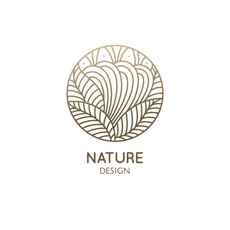Nature logo of mountain, fields. Round linear icon of landscape. Vector emblem, badge for a travel, alternative medicine and ecology concept Vectores