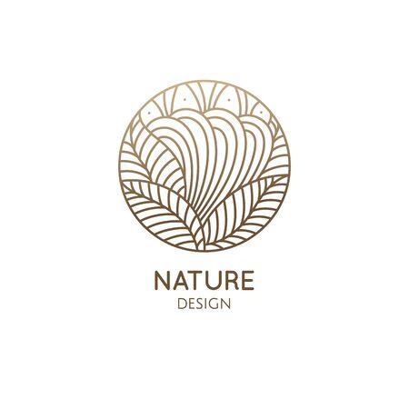 Nature logo of mountain, fields. Round linear icon of landscape. Vector emblem, badge for a travel, alternative medicine and ecology concept Ilustração