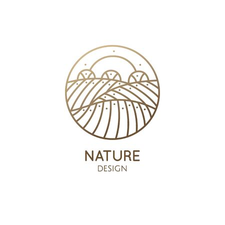 Vector logo of nature in linear style. Outline icon of simple landscape with sun, fields, trees - business emblems, badge for a travel, farming and ecology