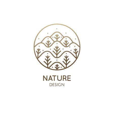 Nature linear logo forest landscape
