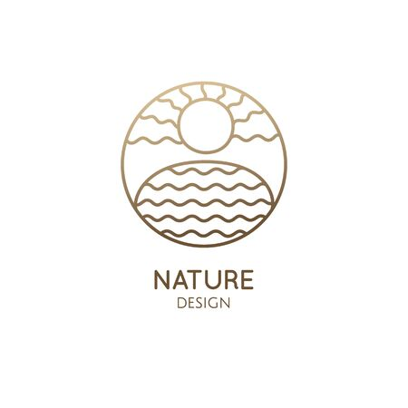 Vector simple logo of nature. Linear icon of landscape with lake and sun. Minimal logotype for business emblems, badge for a travel, tourism and ecology concepts